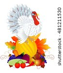 turkey with vegetables and... | Shutterstock .eps vector #481211530