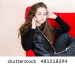 pretty young woman using mobile ... | Shutterstock . vector #481218394