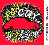 car silhouette with car words... | Shutterstock .eps vector #481231324
