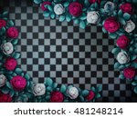 alice in wonderland. red  roses ... | Shutterstock . vector #481248214