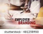 employer branding text in frame. | Shutterstock . vector #481258900