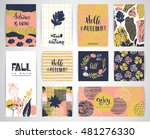 set of artistic creative autumn ... | Shutterstock .eps vector #481276330