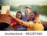 group of young people having... | Shutterstock . vector #481287460