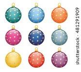 a set of christmas balls.... | Shutterstock .eps vector #481291909