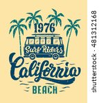 california beach surf riders. t ... | Shutterstock .eps vector #481312168