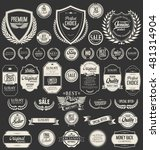 retro vintage shields laurel... | Shutterstock .eps vector #481314904