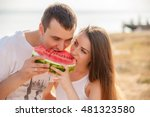 smiling young couple eating... | Shutterstock . vector #481323580