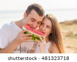 smiling young couple eating... | Shutterstock . vector #481323718