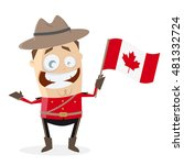funny mountie with canadian flag | Shutterstock .eps vector #481332724