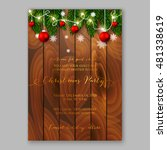 christmas party invitation with ... | Shutterstock .eps vector #481338619