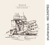 ink sketch drawing of boat in... | Shutterstock .eps vector #481340983