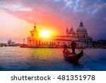 venetian gondolier punting... | Shutterstock . vector #481351978