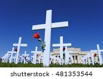 White Crosses And Red Roses On...
