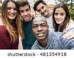 multiracial group of friends... | Shutterstock . vector #481354918