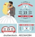 wedding invitation with cartoon ... | Shutterstock . vector #481364284