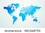 world map blue geometric shape... | Shutterstock .eps vector #481368754