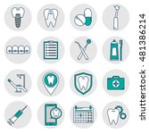 a set of vector icons in dental ... | Shutterstock .eps vector #481386214
