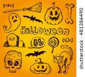 halloween hand drawn characters ... | Shutterstock .eps vector #481386490