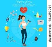 healthy lifestyle vector set... | Shutterstock .eps vector #481391014