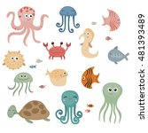 cute sea life creatures.... | Shutterstock .eps vector #481393489