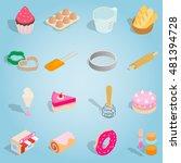 isometric bakery icons set....