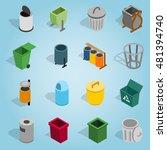 isometric trash bin icons set....