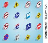 isometric road sign icons set....
