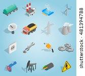 isometric industrial icons set. ...