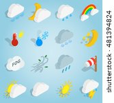 isometric weather icons set....