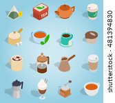 isometric coffee and tea icons...