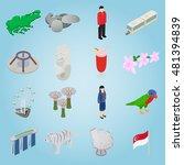 isometric singapore icons set....