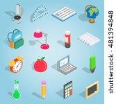 isometric school icons set....