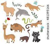 set of different animals of... | Shutterstock .eps vector #481395166