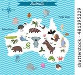 cartoon map of australia... | Shutterstock .eps vector #481395229