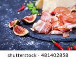 prosciutto with figs and chili... | Shutterstock . vector #481402858