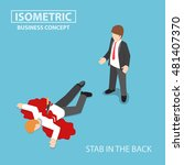 flat 3d isometric businessman...