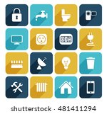 utilities icons set. vector... | Shutterstock .eps vector #481411294