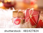 small christmas gift boxes on... | Shutterstock . vector #481427824