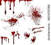 happy halloween set with blood  ...   Shutterstock .eps vector #481429588