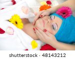 girl take spa massage - stock photo