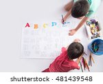 little child boy painting and... | Shutterstock . vector #481439548
