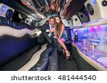 young couple with champagne... | Shutterstock . vector #481444540