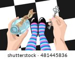 alice in wonderland. background.... | Shutterstock .eps vector #481445836
