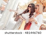 happy woman with shopping bags... | Shutterstock . vector #481446760