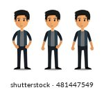 funny cartoon guy with jacket... | Shutterstock .eps vector #481447549