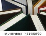 colorful hardback books seen... | Shutterstock . vector #481450930