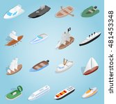 isometric ship set icons....