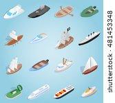 isometric sea boat icon 3d.... | Shutterstock .eps vector #481453348
