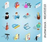 isometric education set icons....
