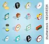 isometric clock set icons....